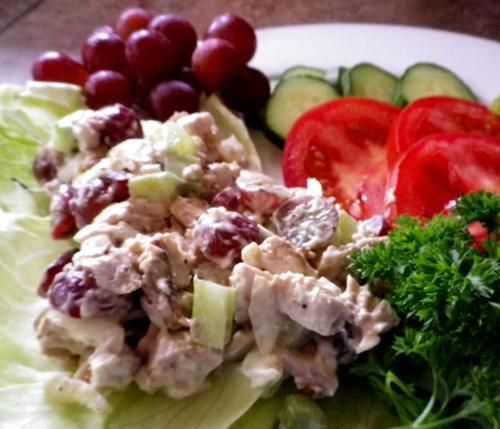 Charlie s Famous Chicken Salad with Grapes from Food.com: A really great guy I used to work with would make this and bring in to share. We all loved it so much and would beg for more! Sounds strange with the grapes, but it's so good! Allow time for salad to chill.