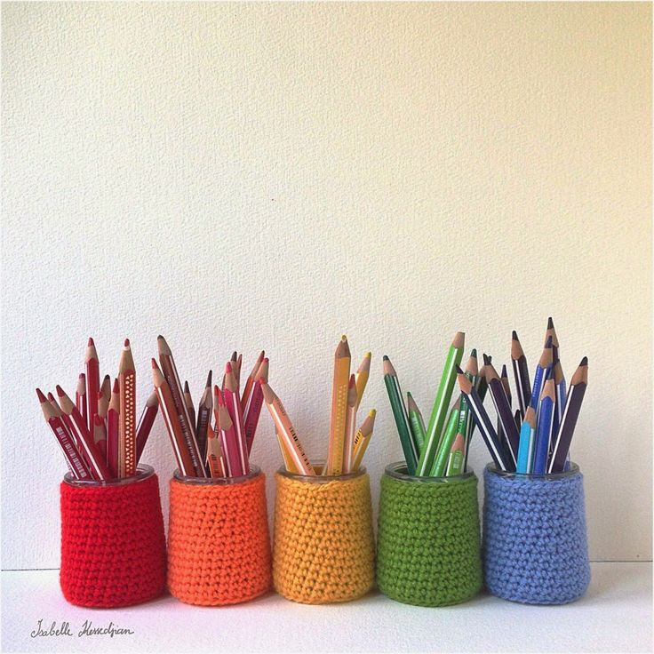Isabelle Kessedjian: Pots à crayons pour l'atelier.