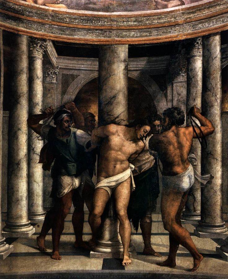Sebastianoi del Piombo, Flagellation of Christ 1516-24 Mural painting in oil, S.Pietro in Montorio Rome