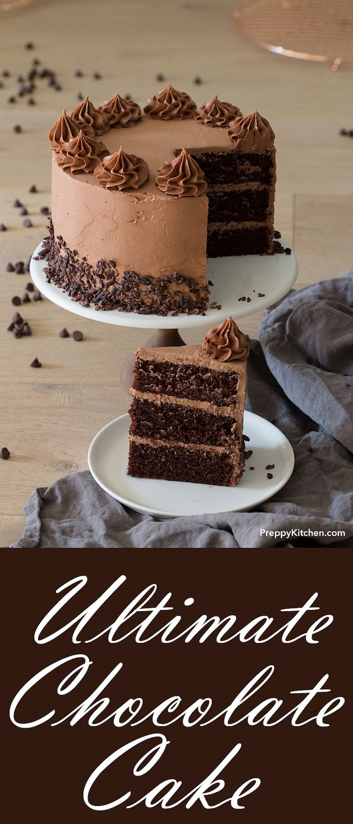 The Ultimate Chocolate Cake recipe made with decadent ingredients and homemade buttercream.  Perfect for birthday party.