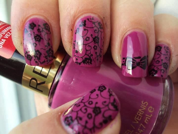 hot pink nails with tiny black flowers and swirls  | See more at http://www.nailsss.com/french-nails/3/