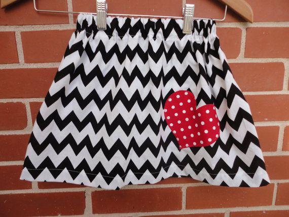 Girls Black and white chevron skirt Valentines by BabySwagbyToni, $15.00
