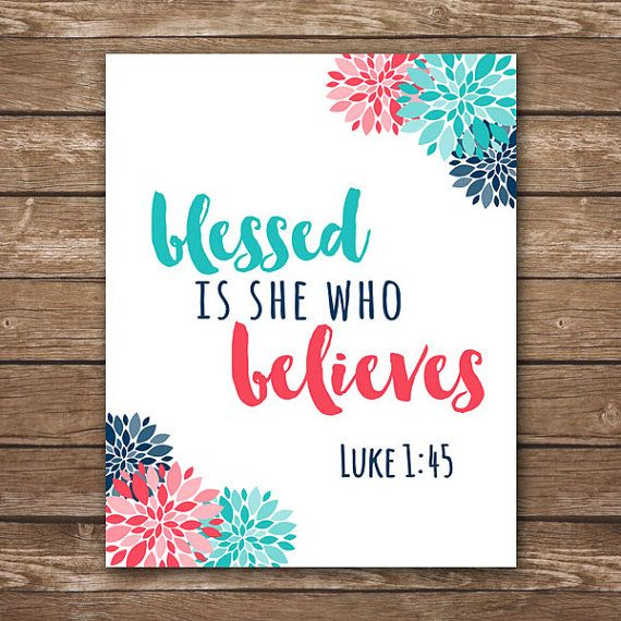INSTANT DOWNLOAD Scripture Printable, Luke 1:45, blessed is she who believes, home decor, coral dorm, Coral and navy bedroom, navy coral and teal, coral art, coral and aqua bedroom,