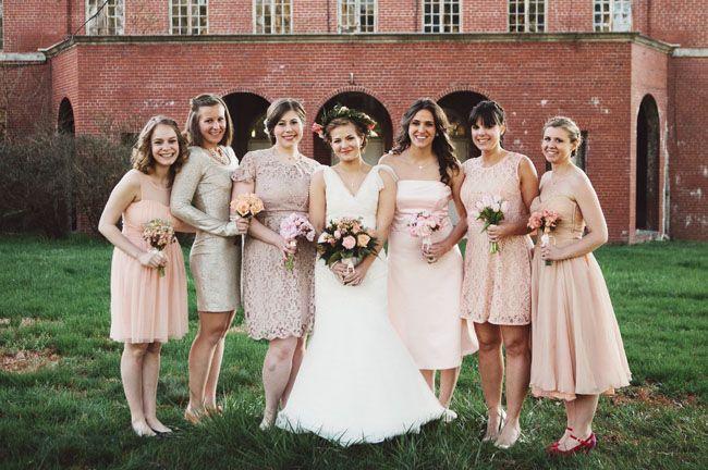 mismatched lace bridesmaids
