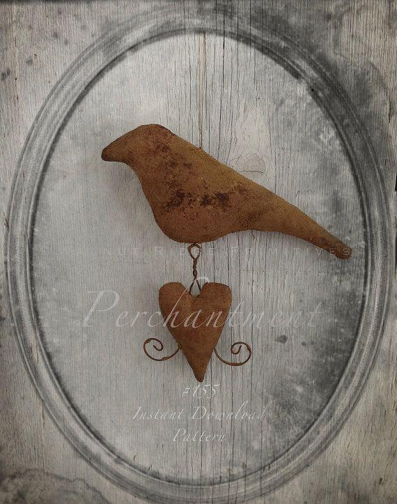 Primitive Epattern Bird with Heart Valentine by wrprimitives, $9.00