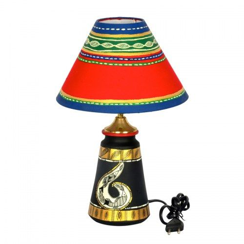 ExclusiveLane 14 Inch Terracotta Handpainted Madhubani  Tappered Lamp Black  - Lighting n Lamps by ExclusiveLane for Beeja