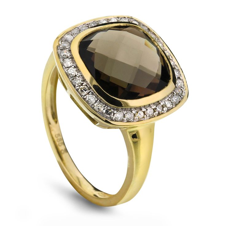 Ring i gull med røkkvarts og diamanter 0,20 ct WP