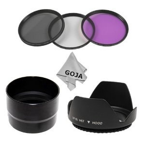 7 Pcs KIT for NIKON COOLPIX L100 L-100 Digital Camera, Includes: 67MM 3 Pcs Super Filter Kit (1 Filter UV, 1 Filter Polarized, 1 Filter Fluorescent Glass) + Carry Case + 67MM Flower Petal Designed Hard Lens Hood + Black Anodized Tube adapter to add 67MM Accessory Lens + 1 Deluxe Ultra Fine Microfiber Cleaning Cloth GOJA Logo. * 1) LENS ADAPTER- The adapter provides a 67mm filter mount to add a 67mm filter (UV, CPL, MC, UV etc.) to improve picture quality. Compatible with Nikon Coolpix L100…