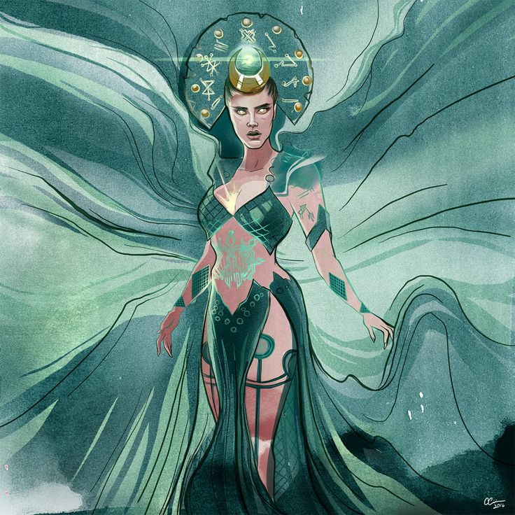 Happy B-day @Caradelevingne Illustration of her as the Enchantress by me!