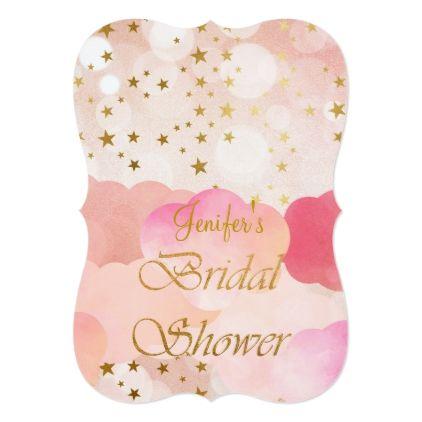 Gold glitter Bridal Shower Invitation - glitter glamour brilliance sparkle design idea diy elegant