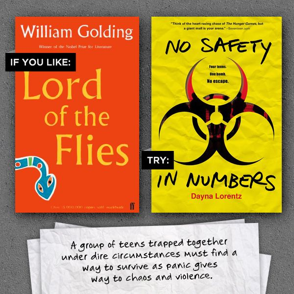 Lord of the Flies by William Golding and #NoSafetyInNumbers by Dayna Lorentz