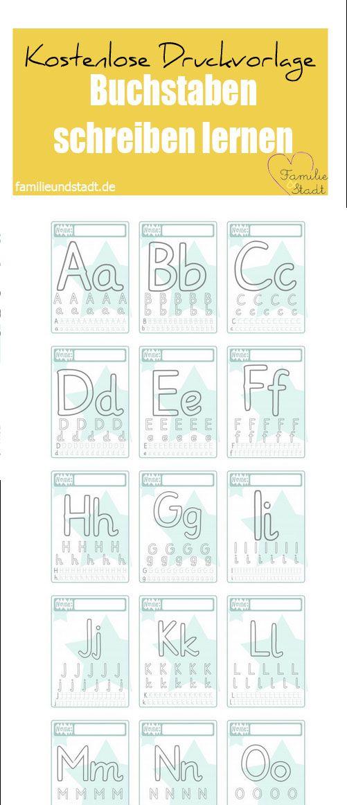Buchstaben schreiben lernen mit Kindern, Druckvorlage für Kinder, ABC Vorschule