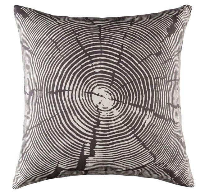 Kas Wood Slice 50x50cm Filled Cushion Charcoal