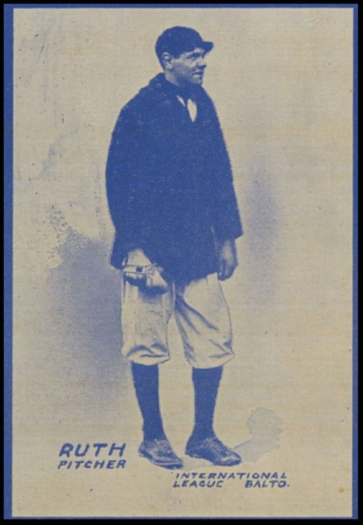A baseball card depicting Ruth as a Baltimore Oriole in 1914.