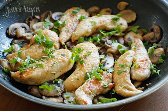 This delicious chicken and mushroom dish simmered in a white wine sauce is LIGHT and EASY! Ready in 20 minutes!!