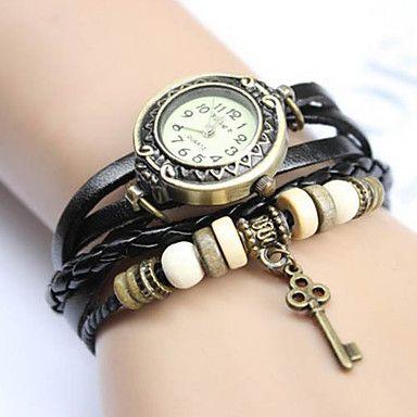 Női Vintage kulcs medál stílusú bőr zenekar Quartz Analog karkötő Watch (vegyes színek) – USD $ 9.99