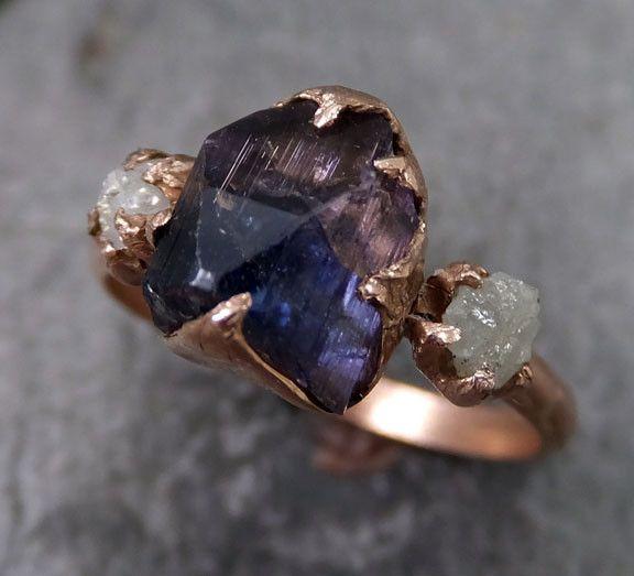 Raw Diamond Tanzanite Ring Two Tone Gemstone 14k Rose Gold Engagement Ring Wedding Ring One Of a Kind Gemstone Ring Three stone