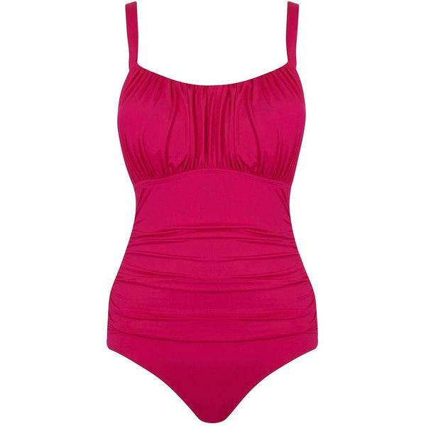 Seaspray Just Colour Ruched Strap Swimsuit Pink ($99) ❤ liked on Polyvore featuring swimwear, one-piece swimsuits, women swimwear swimsuits, tummy control swimsuit, pink one piece swimsuit, shirred one piece swimsuit, tummy control bathing suits and padded one piece swimsuit