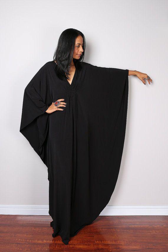 Black Maxi Dress Kaftan Kimono Butterfly Dress: Funky by Nuichan