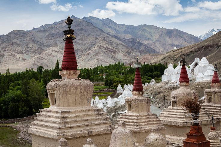 Stupas near Stok palace - Leh, Ladakh, Northern India by Andrea Schieber