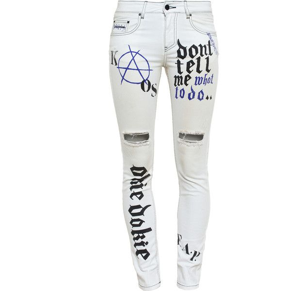 FILLES A PAPA Graffiti Print Distressed Jeans ($405) ❤ liked on Polyvore featuring jeans, pants, bottoms, pantalones, white distressed jeans, torn skinny jeans, white destroyed jeans, white ripped jeans and denim skinny jeans