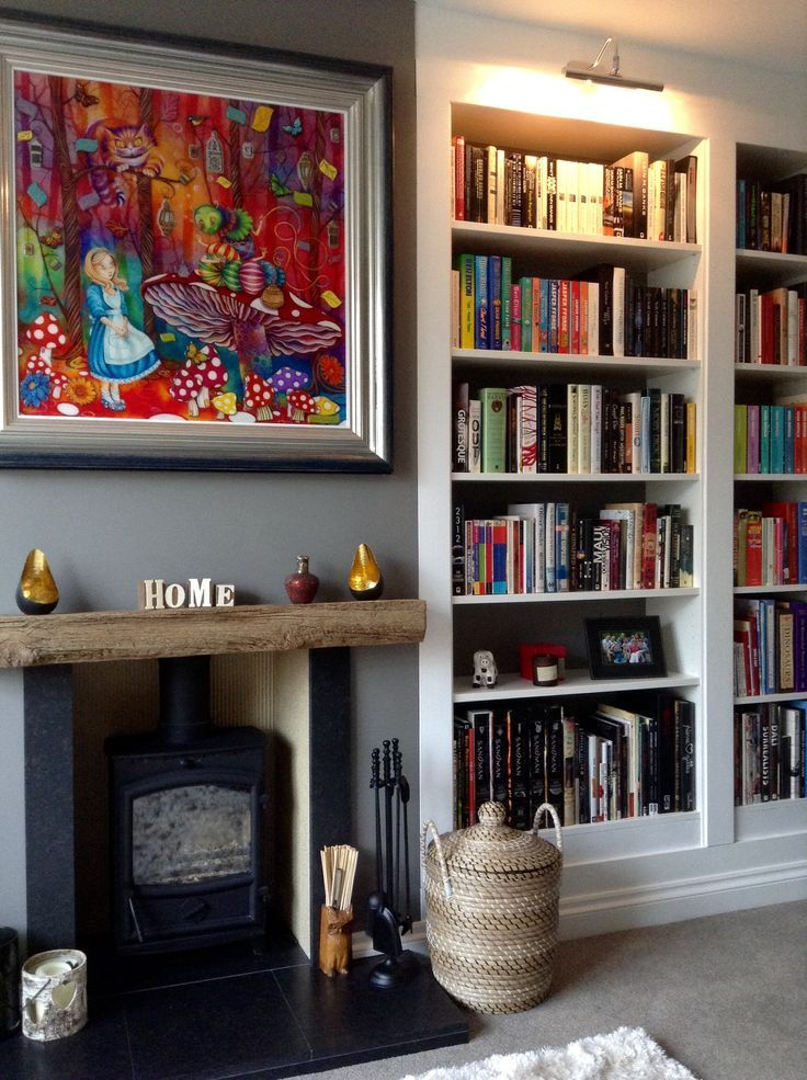 Lounge coming together - thanks Mom & Dad for making my Billy  bookcases look built in! Wall colour is Farrow & Ball Mole's Breath.