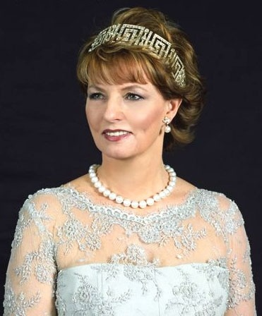 Margarita of Romania wearing the Greek Tiara given to Queen Helen (mother of the current King Michael) from Queen Marie of Romania