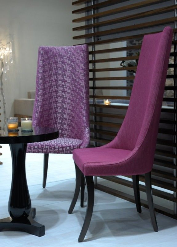 CUSTOM UPHOLSTERED HIGH-BACK DINING CHAIRS WITH LOW ARMS