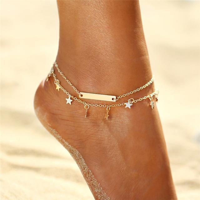 Rainbow Color Rhinestones Stars Multi-Layer Anklet Ankle Bracelet Foot Jewelry