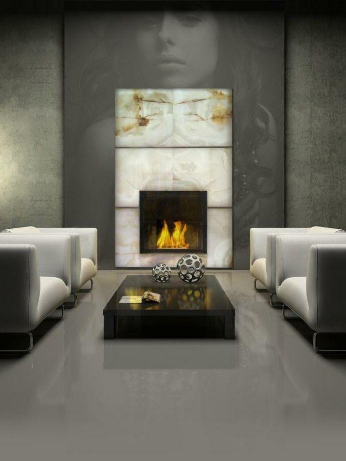 Moderner Kamin Einbauen Marmor Glanz Optik