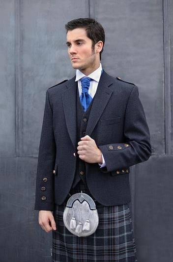 Charcoal Oban Tweed Kilt Outfit | Price: £549 | Outfit includes: Kilt jacket & waistcoat, select tartan Kilt, sporran, Kilt pin, Kilt flashes, Kilt socks, sgian dubh and ghillie brogues.