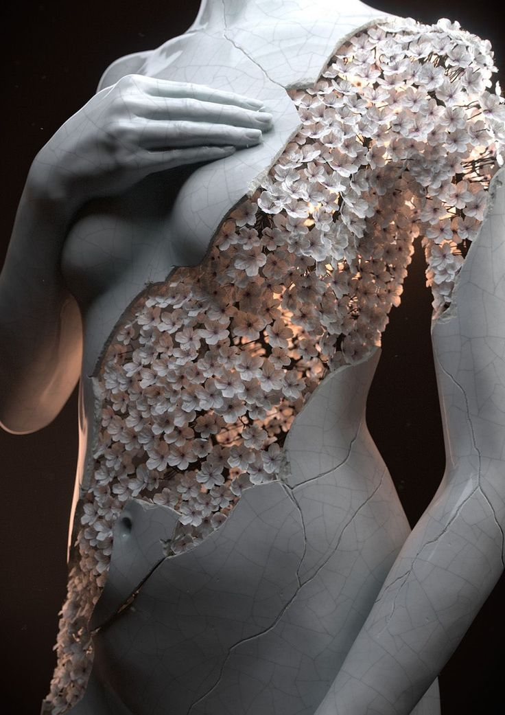 French 3D artist Jean-Michel Bihorel has produced two digital sculptures of the female form composed of a sample of dry flowers.