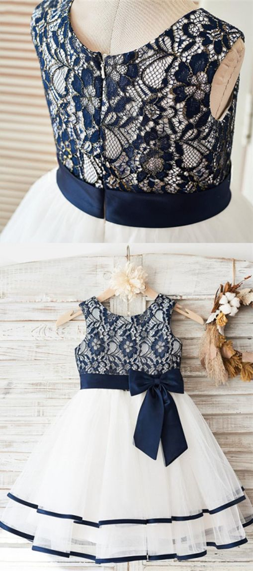 8a3108c99 A-Line Round Neck White Flower Girl Dress with Navy Blue Bow