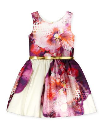 Sleeveless+Floral+Party+Dress,+Purple/White,+Size+7-16+by+Zoe+at+Neiman+Marcus.