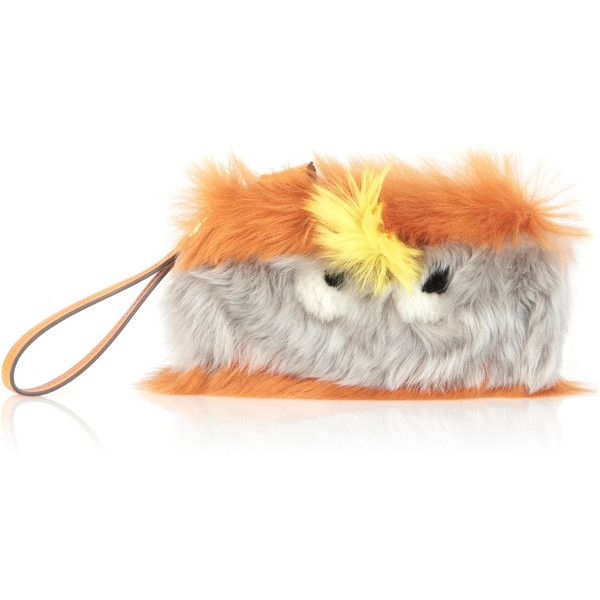 Anya Hindmarch Sunset Furry Shearling Eyes Clutch ($795) ❤ liked on Polyvore featuring bags, handbags, clutches, orange, orange clutches, strap purse, anya hindmarch handbags, orange handbags and shearling purse