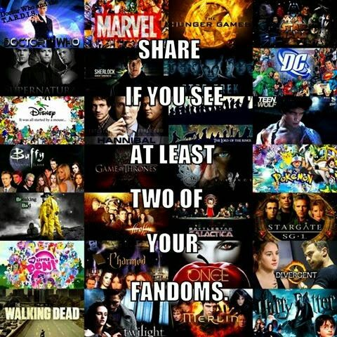 I see, Marvel, Hunger games, Divergent, DC, Sherlock, Doctor Who, Once Upon a Time, Disney, and finally Star Wars. - Maddie G