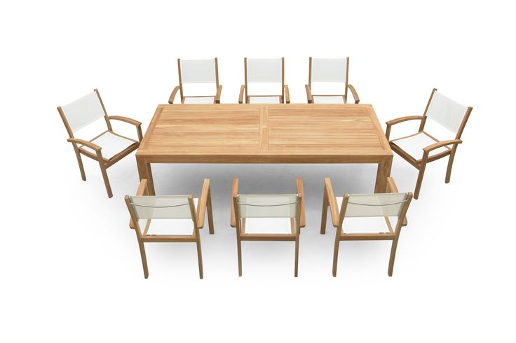 Teak outdoor furniture, table 1.8 x 75 or 1.8 x 90. Pictured here with white batyline dining chairs.