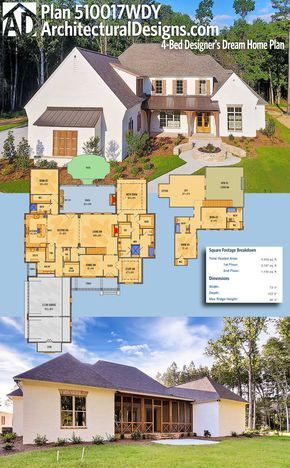 Architectural Designs 4-Bed Acadian Style House Plan 510017WDY has a 3-car side-load garage, a huge covered back porch with fireplace and outdoor kitchen and over 4,400 square feet of heated living space inside. Ready when you are. Where do YOU want to build?