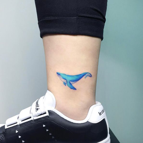 Whale tattoo on ankle by IDA