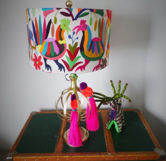 De Frida Otomi lampshade Birds Theme Proudly featured on HGTV Magazine! #HGTVMagazine #Otomi Lamp