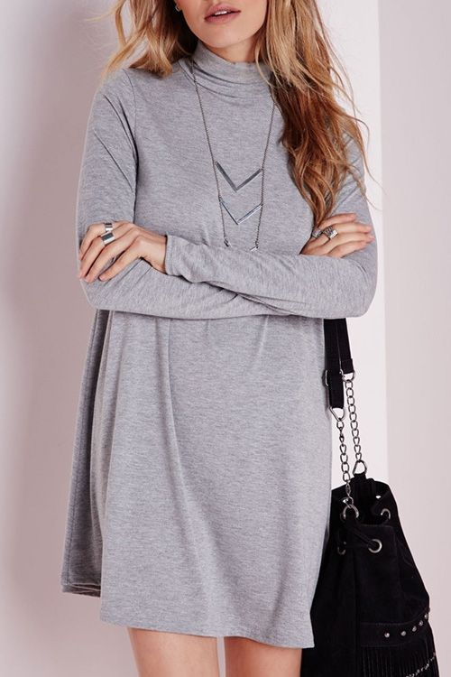 Turtle Neck Solid Color Long Sleeve Dress: