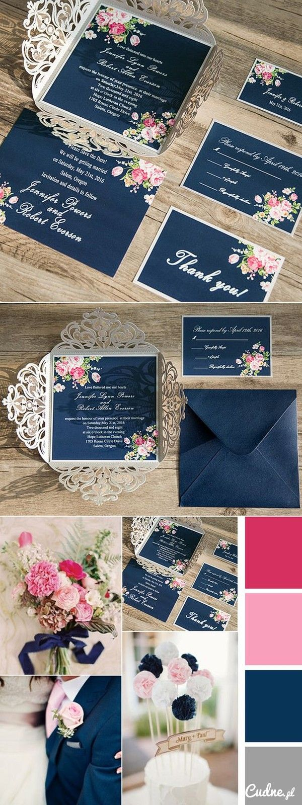 comic book inspired wedding invitations%0A Shabby Chic Floral Navy Blue and Pink Wedding Colors Inspired Laser Cut Wedding  Invitations  elegantwinvites   OFF CODE  mod