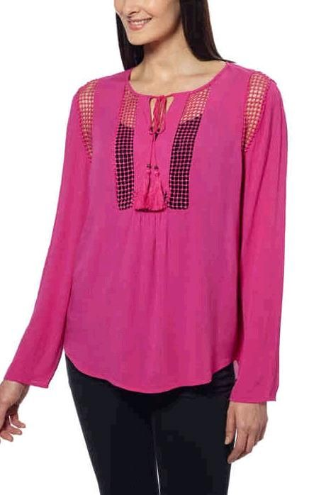Joseph A Ladies Crinkle Blouse Dusty Rose Men S And