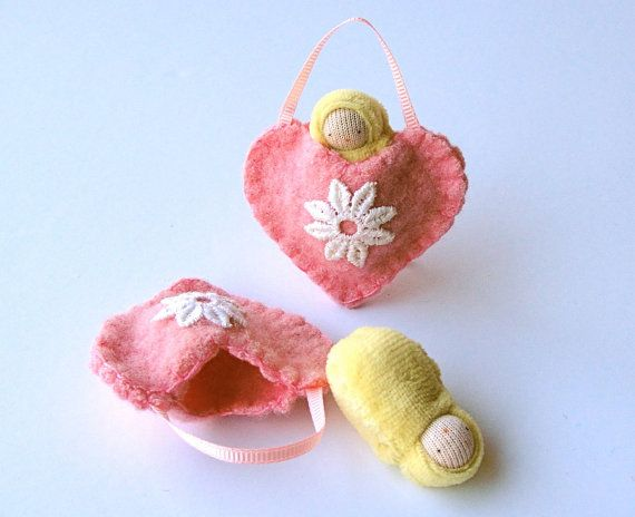 Heart ornament pocket doll hand embroidered waldorf decor advent calendar