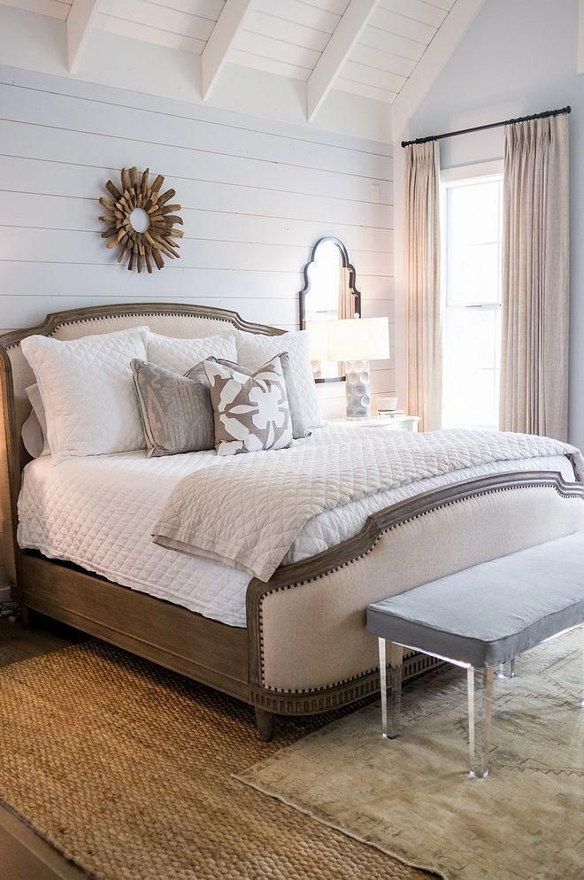 Benjamin Moore 2130 70 Seattle Gray Modern Farmhouse Bedroom With Shiplap Wall Paint Color