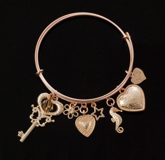 Rose Gold Plated Bangles - 7 Charms Included - Seahorse, Star, Key, Flower and 3 Hearts