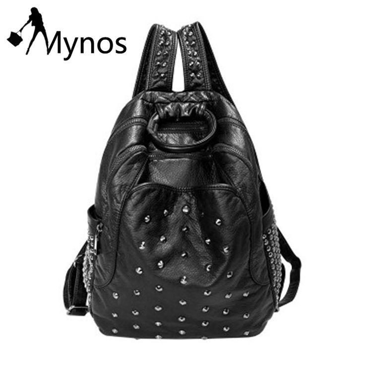 Mynos Leather Women Backpacks Daily Backpack Girl Sheepskin School Bag for Teenager Rucksack Girl Black Backpac Sac