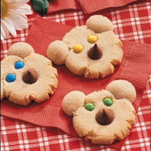 """Beary Cute Cookies ~ These cheery cookie cubs, served at my teddy bear picnic, will delight """"kids"""" of all ages! I like to make fun foods but don't care to spend a whole lot of time fussing. So the idea of using candy for the bears' features was right up my alley."""