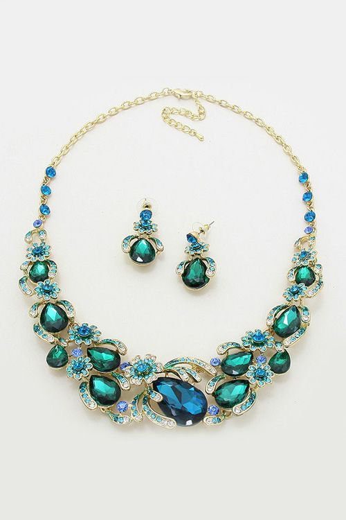 Crystal Magnolia Necklace in Teal Emerald on Emma Stine Limited