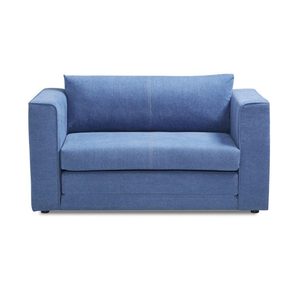 Corona Royal Blue Convertible Loveseat Sleeper